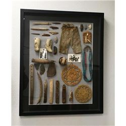 Framed Collection Of Eskimo Artifacts
