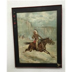 Oil Painting Of American Indian On Horse