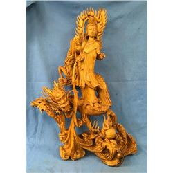 Large Fantastic Carved Quanyin With Dragon