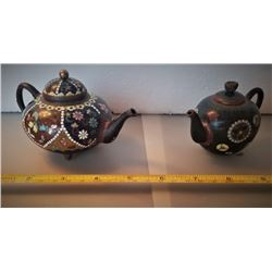 Two Meiji Japanese Cloisonne Tea Pots