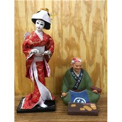 Japanese Geisha Doll & Terra-cotta Figure