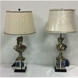 Maitland Smith His and Hers Bust Lamps
