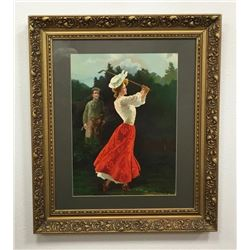 Rare Early Tinted Lithograph Of 1920's Lady Golfer