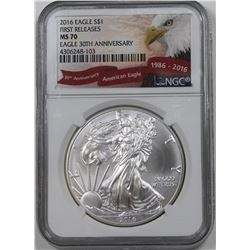 2016 AMERICAN SILVER EAGLE NGC MS 70