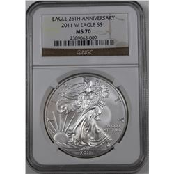 2011-W AMERICAN SILVER EAGLE NGC MS 70