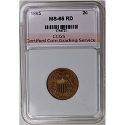 1865 TWO CENT CCGS GRADED GEM BU RED