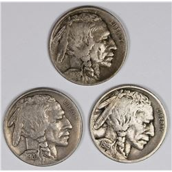 BUFFALO NICKELS: 1919-S, 1920 AND 1920-D