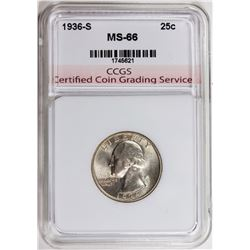1936-S WASHINGTON QUARTER CCGS SUPERB GEM BU