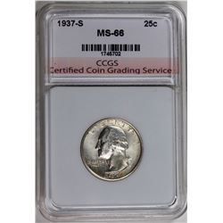 1937-S WASHINGTON QUARTER CCGS SUPERB GEM