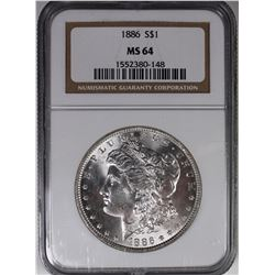 1886 MORGAN SILVER DOLLAR NGC MS64 WHITE.