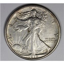 1917-S REV. WALKING LIBERTY HALF DOLLAR UNC. RARE!