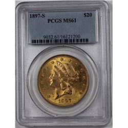 1897-S $20 GOLD LIBERTY PCGS MS 61 NICE