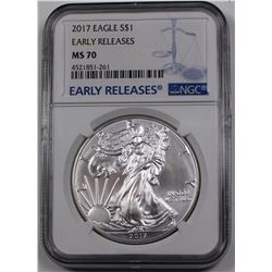 2017 AMERICAN SILVER EAGLE NGC MS-70