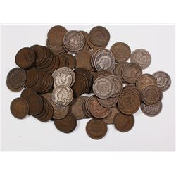 100 MIXED INDIAN CENTS 1909 AND OLDER