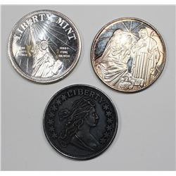 3 1OZ SILVER ROUNDS