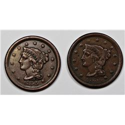 1854 VF & 1855 XF LARGE CENTS