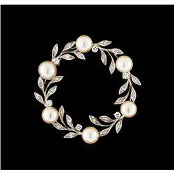 0.50 ctw Diamond and Pearl Brooch/Pendant - 14KT White Gold