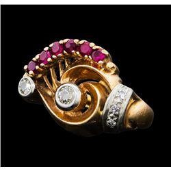 0.40 ctw Ruby and Diamond Ring - 14KT Rose and White Gold