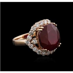 14KT Rose Gold 15.28 ctw Ruby and Diamond Ring