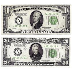 Lot of 1928B $10 & $20 Federal Reserve Notes