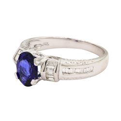 1.27 ctw Sapphire and Diamond Ring - 18KT White Gold