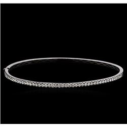 0.95 ctw Diamond Bangle Bracelet - 14KT White Gold