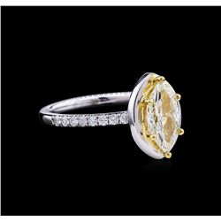 1.41 ctw Fancy Light Yellow Diamond Ring - 14KT Two-Tone Gold