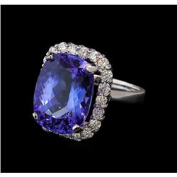 13.90 ctw Tanzanite and Diamond Ring - 14KT White Gold