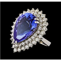 GIA Cert 15.49 ctw Tanzanite and Diamond Ring - 14KT White Gold