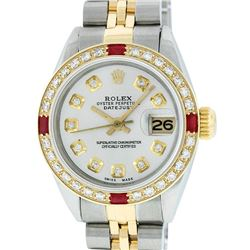 Rolex Ladies 2 Tone 14K Silver Diamond & Ruby Datejust Wristwatch