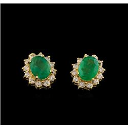 3.94 ctw Emerald and Diamond Earrings - 14KT Yellow Gold