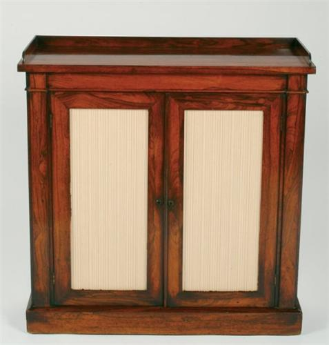 Regency Rosewood Small Bookcase the top galleried fitted two full length doors inset with glass on & Regency Rosewood Small Bookcase the top galleried fitted two full ...