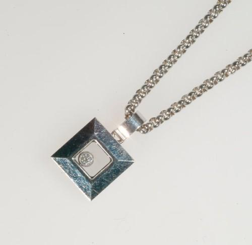 Chopard 18k white gold happy diamond chain and pendant formed chopard 18k white gold happy diamond chain and pendant formed as a square pendant with a small b mozeypictures Choice Image
