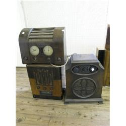 A Marconi Model 376 walnut radio, with brass speaker grill and two similar radio sets, 16.5ins