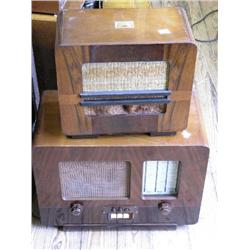 An HMV Model No. 1105 walnut radio, and another HMV Model 186 radio, 15.5ins  