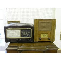 A Utility wartime civilian receiver radio, and a Cossor 'Melody Maker' brown Bakelite radio  
