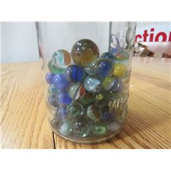 JAR MARBLES (CATS EYE, SOLIDS, CLEAR, END OF DAY IN KERR WIDE MOUTH MASON JAR) *PAT 1915*