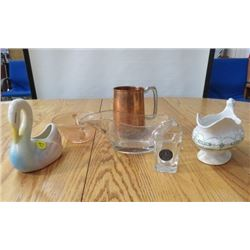 LOT OF 6 GLASS WARE (DEPRESSION ERA SUGAR, COPPER STIEN, CLEAR GRAVY BOAT, JOHNSTON BROS, SWAN, BATM