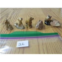 J WADE FIGURINES *DOGS AND RABBIT* (6 PACK)