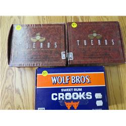 LOT OF 3 CIGAR BOXES (2 TUEROS HAVANA & WOLF BROS, SWEET RUM CROOKS)