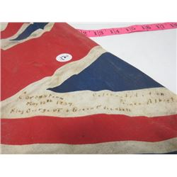UNION JACK FLAG (CORONATION MAY 12, 1947 IN PRINCE ALBERT)*KING GEORGE 6TH & QUEEN ELIZABETH*