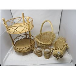 LOT OF 5 WICKER (OWL, BASKET, 3 TIER SHELF & 2 CUPS)