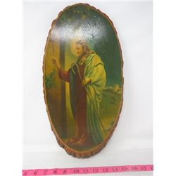 """RELIGIOUS PICTURE (CHRIST KNOCKING AT THE DOOR"""") *WOOD*"""