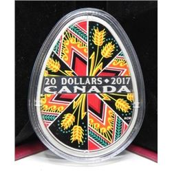 2017 $20 DOLLAR SILVER COIN (TRADITIONAL PYSANKA) * 2017 RETAIL $200)