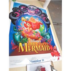 LARGE MOVIE POSTER (THE LITTLE MERMAID) *2 SIDED, PIN HOLES*