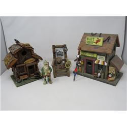 "MINIATURE STORE & CABIN, ETC. (CABIN 7 1/2"" HIGH X 7"" WIDE, CHAIR 6"" HIGH, STORE IS 9""X9"")"