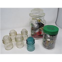 2 JARS MISC. (SPARKLE, ETC.) & GLASS INSULATORS (QTY 5) *3 DOMINION, 2 HEMINGRAY, 1 BLUE 1 CHIPPED A