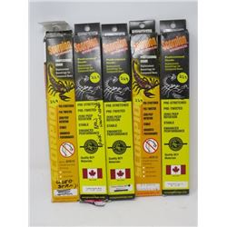 """LOT OF 5 HUNTING ACCESSORIES (SCORPION STRINGS) *33 7/8"""" TO 82 3/8""""* (1 PKG USED)"""
