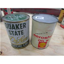 OIL TINS (SHELL AVAIATION & QUAKER STATE DELUXE) *1 QT* (QTY 2)