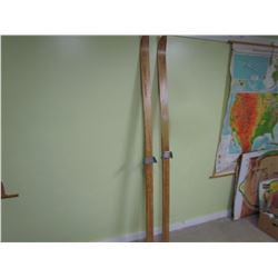 """PAIR OF WOODEN SKIS (83"""")"""